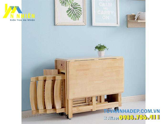 bàn ăn bằng gỗ căm xe gấp gọn gàng