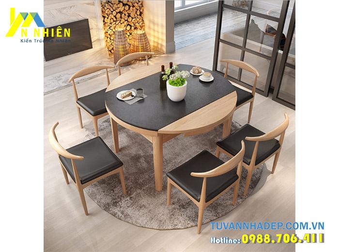 bàn ăn bằng gỗ cao su