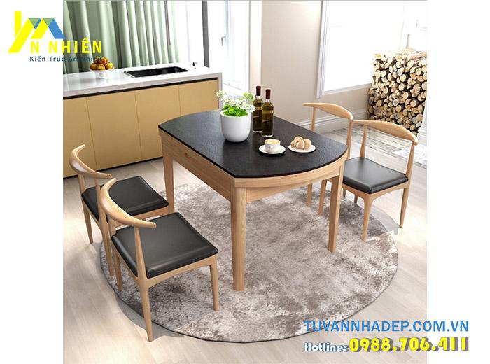 hình ảnh bàn ăn bằng gỗ cao su