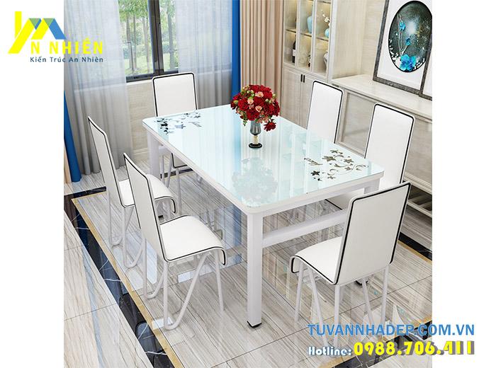 hình ảnh bàn ăn tone trắng