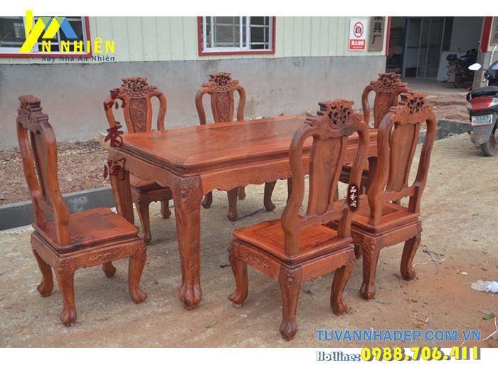 gỗ gõ đỏ thích hợp làm bàn ăn