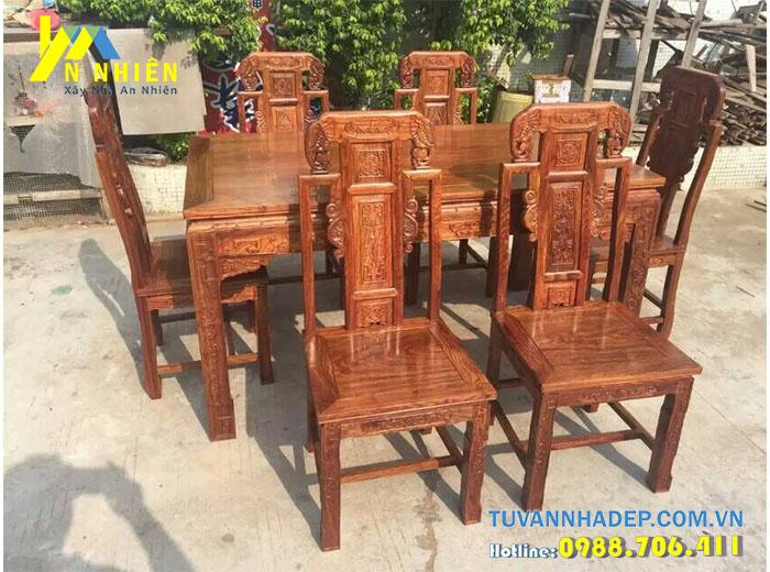 bàn ăn sang trọng bằng gỗ gõ đỏ