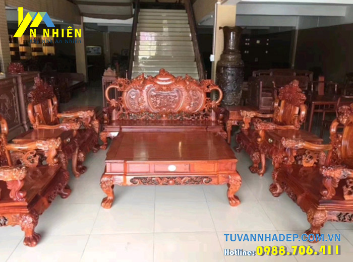 bàn phòng khách bằng gỗ gõ đỏ