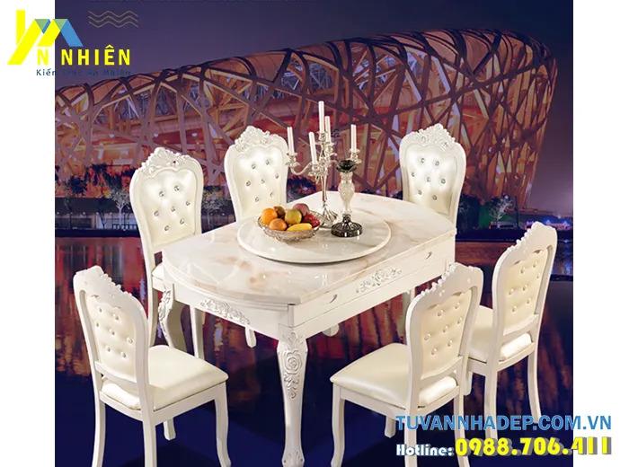 mẫu bàn ăn gỗ sồi kiểu dáng đẹp
