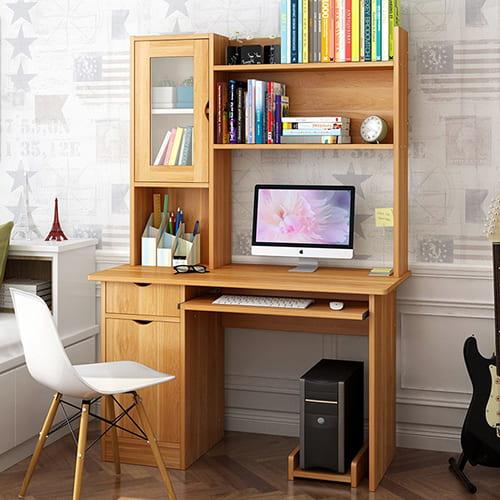 Bàn làm việc gỗ đẹp với tủ sách ngăn nắp