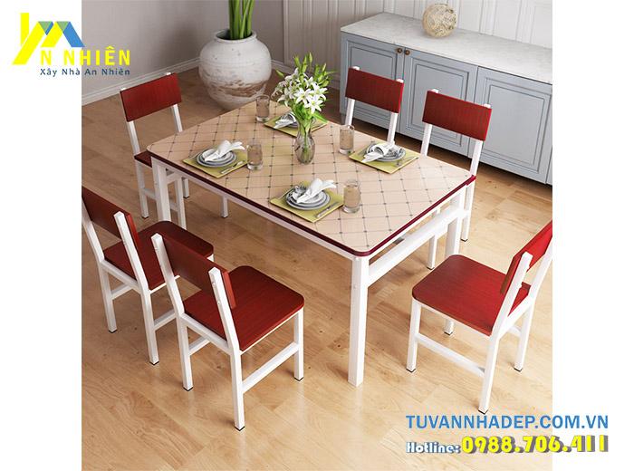 bàn ăn sang trọng với gỗ công nghiệp