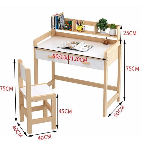 Kích thước bộ bàn ghế phù hợp với trẻ học trung học