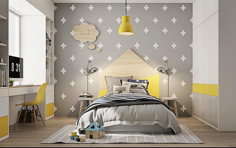 Bàn làm việc học tập nhỏ đẹp được bố trí bên trong phòng ngủ xinh