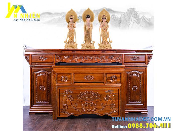 mẫu bàn thờ đẹp bằng gỗ gụ