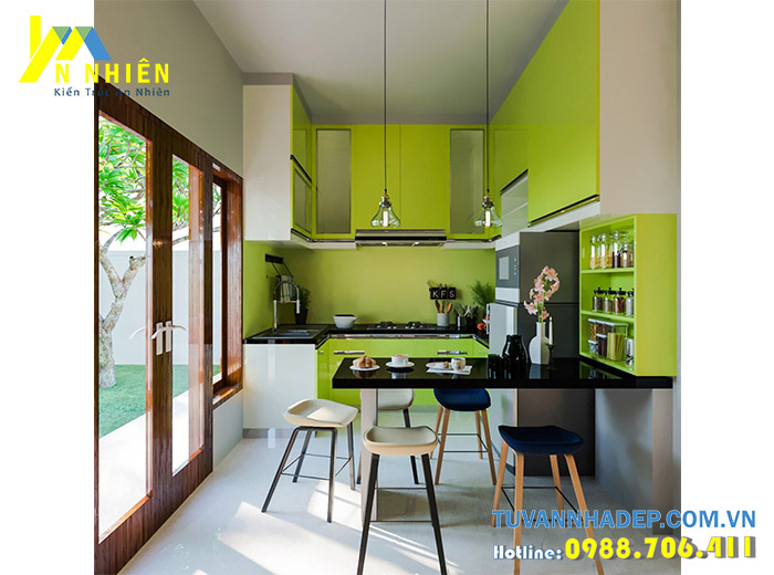 bếp màu xanh lá