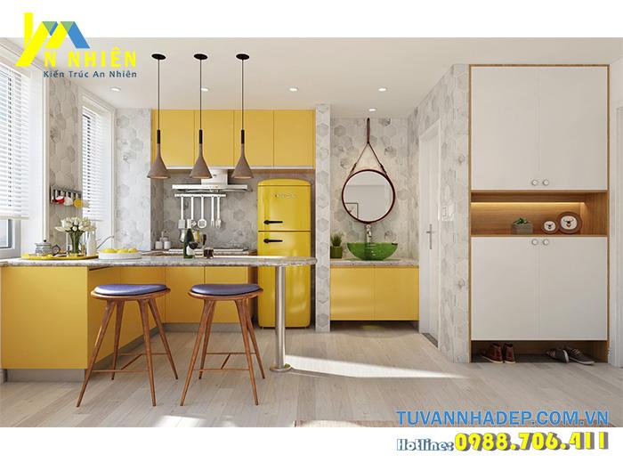 bếp tone màu vàng