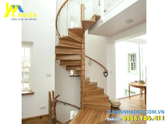 mẫu cầu thang gỗ xoắn đẹp