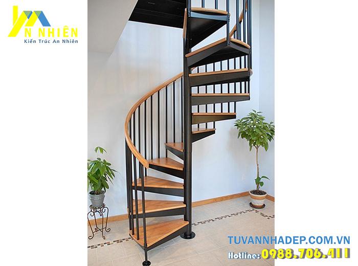 cầu thang xoắn đẹp bằng gỗ