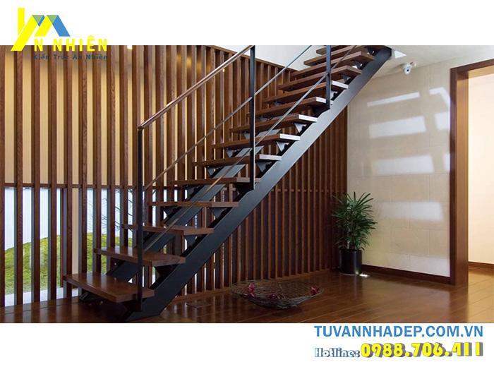 cầu thang gỗ hình xương cá