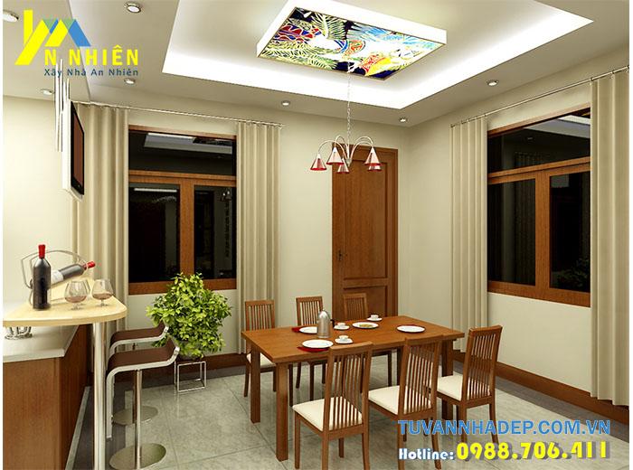 phòng bếp lung linh với đèn ốp trần