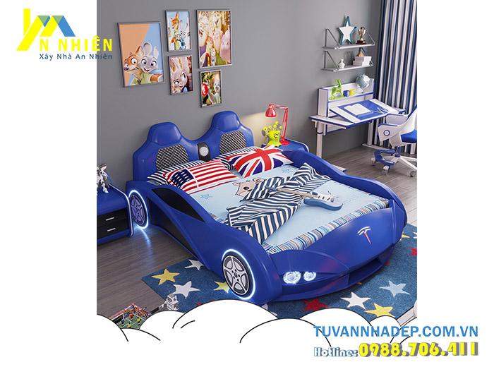 giường đơn hình ô tô cho bé trai