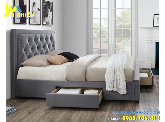 giường có ngăn kéo bọc nỉ