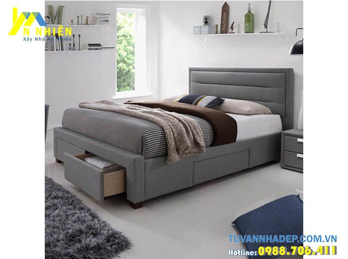 giường ngủ có ngăn kéo bọc nỉ