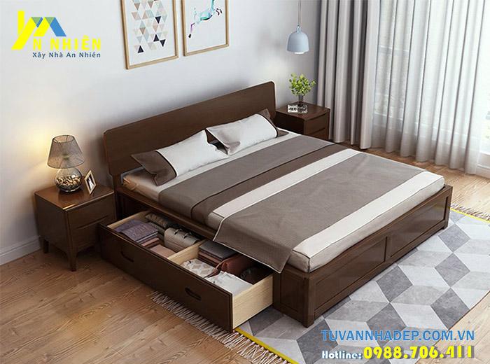 giường có ngăn kéo bằng gỗ