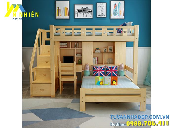 mẫu giường tầng bằng gỗ có bàn học