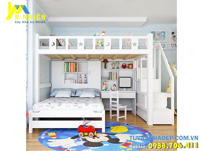 giường tầng màu trắng có bàn học