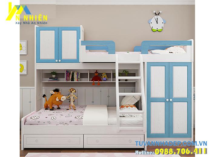 giường tầng kết hợp tủ áo màu xanh