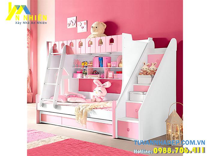 giường tầng màu hồng có tủ áo