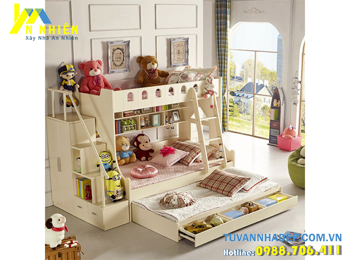 hình ảnh giường trẻ em có tủ áo