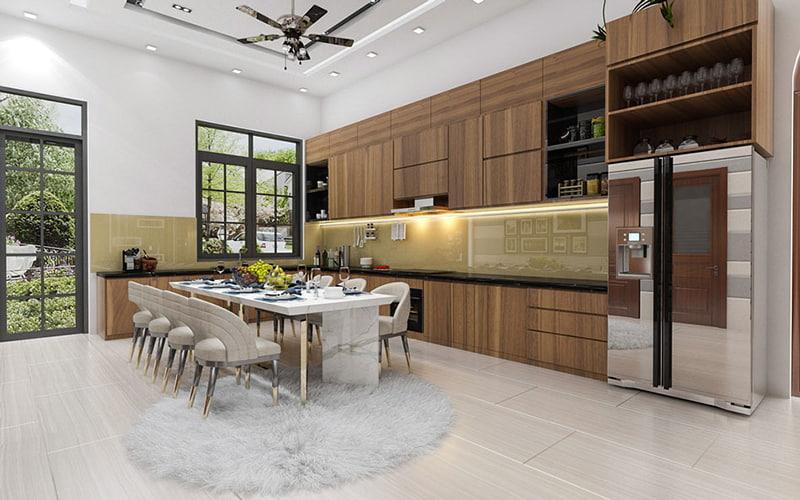 Không gian bếp rộng sử dụng nội thất hiện đại giúp không gian mát mẻ