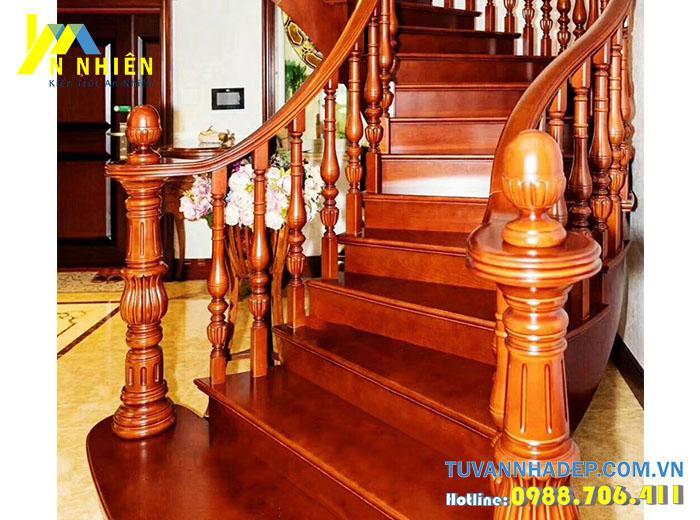 mẫu cầu thang bằng gỗ đẹp