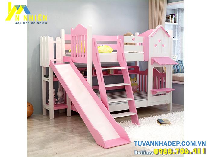 giường tầng màu hồng đẹp