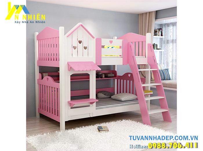 giường tầng đẹp 2 tầng màu hồng