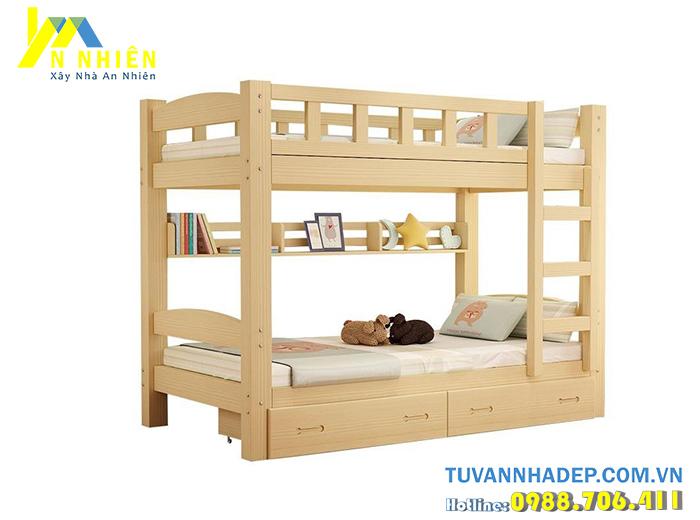 mẫu giường đẹp bằng gỗ 2 tầng