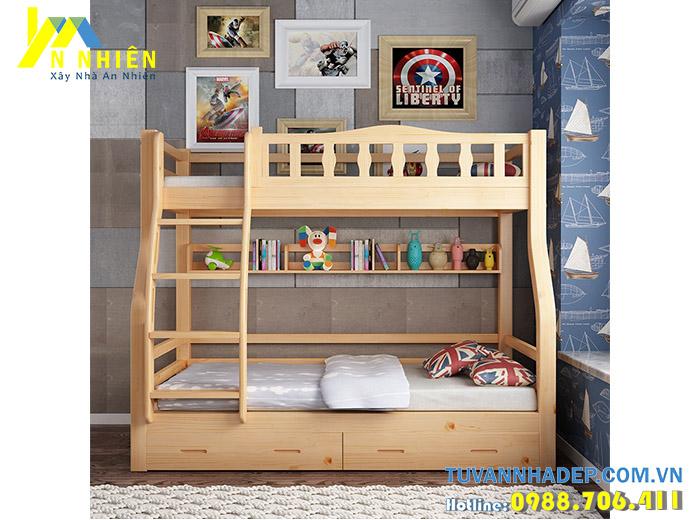 mẫu giường tầng đẹp bằng gỗ