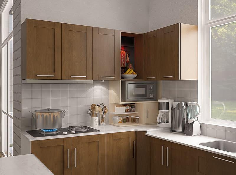 Bộ tủ bếp và dụng cụ phòng bếp được sắp xếp ngay ngắn gọn gàng