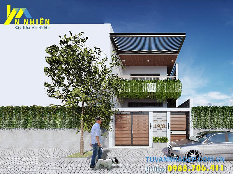 thiết kế nhà 2 tầng mặt tiền 5m hiện đại