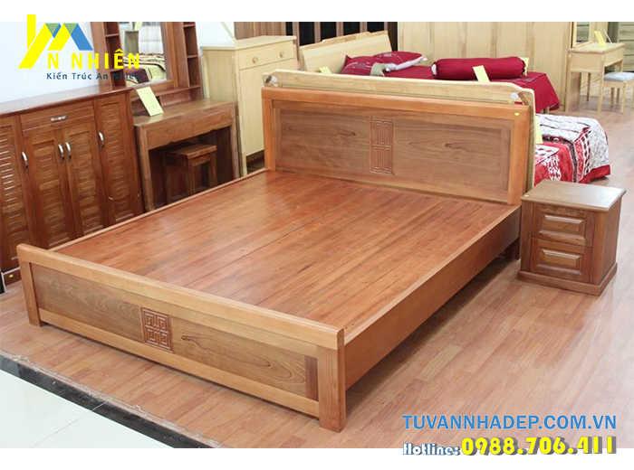 mẫu giường đẹp bằng gỗ ghép