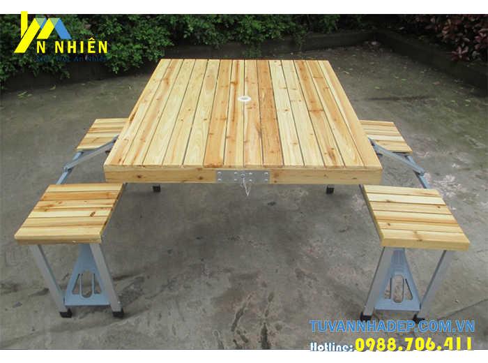 bàn ghế bằng gỗ ghép