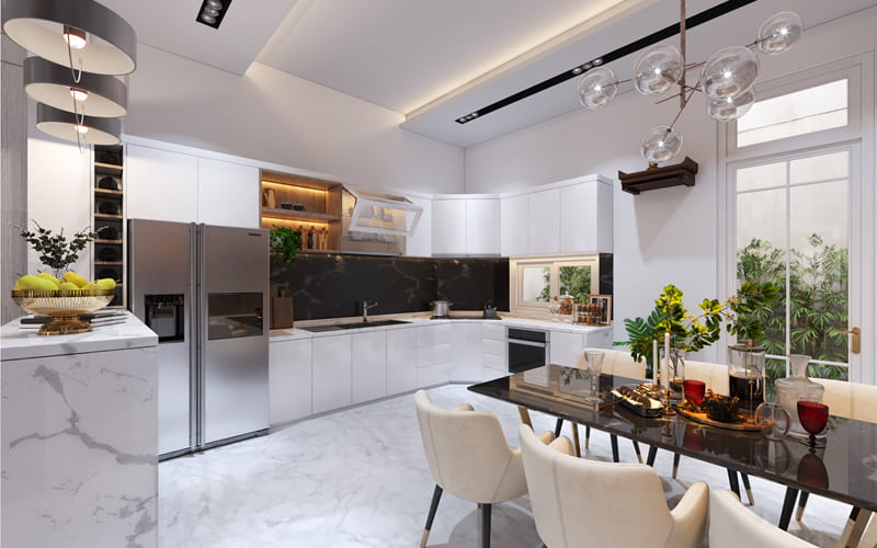 Trang trí không gian phòng bếp tiện nghi hiện đại