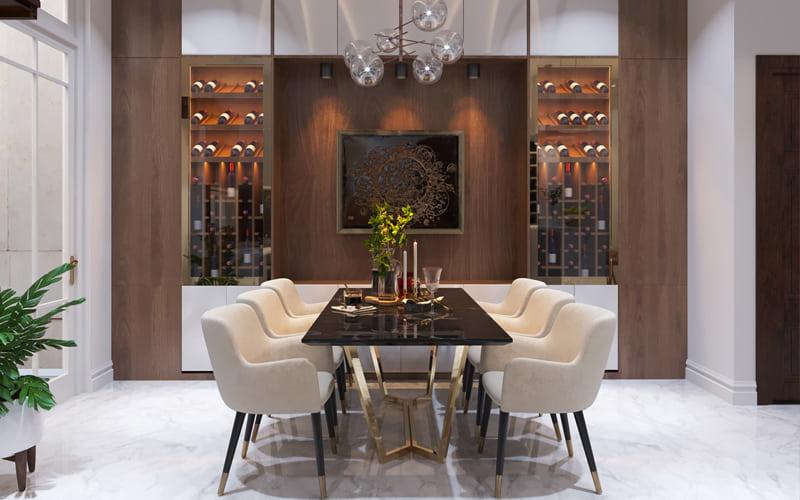 Bộ bàn ghế phòng ăn đẹp với chất liệu hiện đại