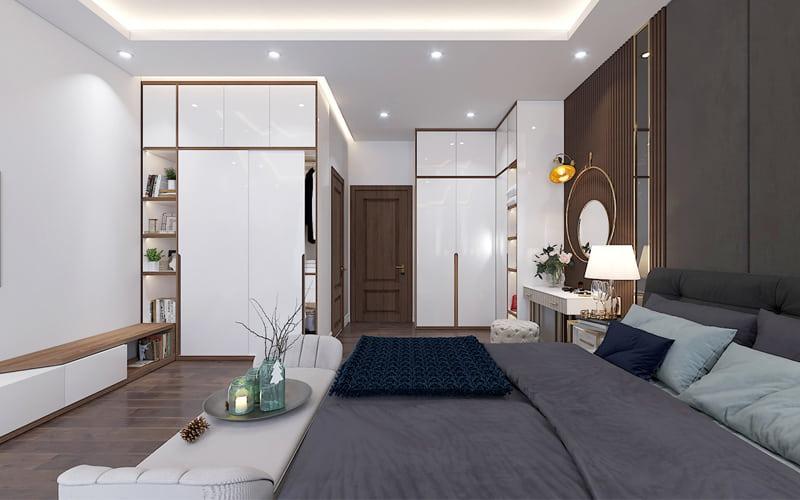 Tủ quần áo và giường ngủ được kê hợp lý tạo ra nhiều không gian trống thoáng mát