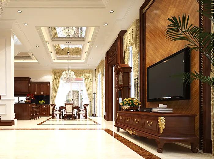 Phòng khách căn biệt thự 3 tầng cổ điển 350m2
