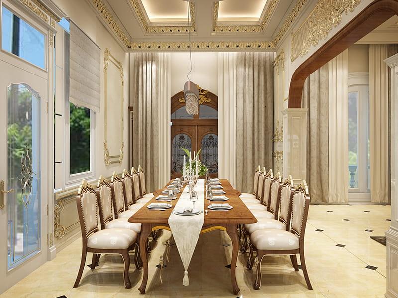 Phòng khách rộng và được bố trí nội thất gỗ