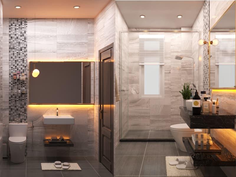 Nhà tắm trang trí sang trọng