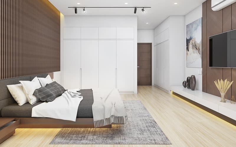 Màu trắng sáng kết hợp màu nâu ấm áp trang trí cho phòng ngủ