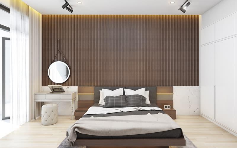 Giường ngủ kích thước vừa phải phù hợp với diện tích phòng