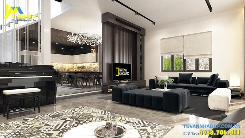 Đồ nội thất hiện đại kích thước và màu sắc phù hợp với kiến trúc hiện đại