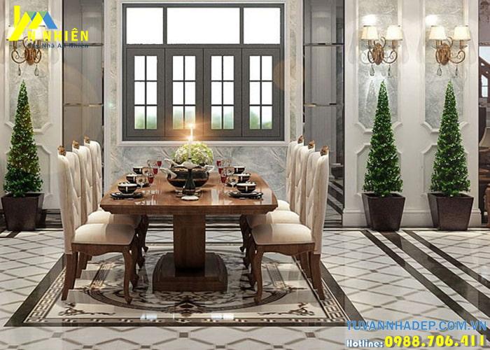 Phòng ăn trang trí sử dụng nội thất chất liệu gỗ sang trọng