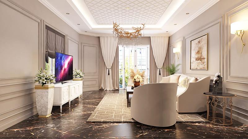 Phòng khách căn biệt thự kiểu Pháp
