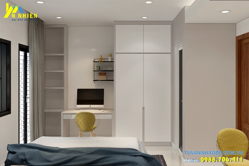 Phòng ngủ nhỏ trang trí sử dụng nội thất thông minh